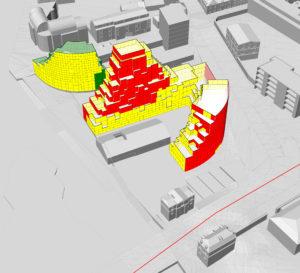 Carte d'exposition au bruit des façades établie par les outils MESH